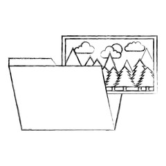 folder with picture landscape of pine trees isolated icon vector illustration design