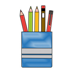 office pen pencil color in case supplies vector illustration drawing