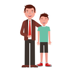 family father hugging her teen son vector illustration