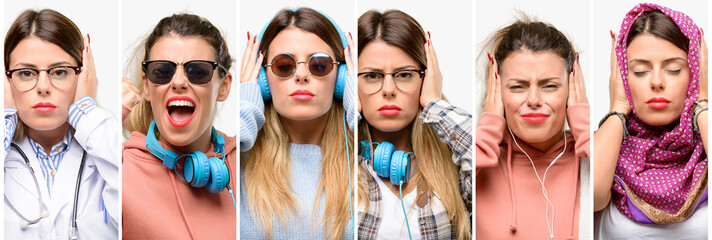 Cool woman, different professions covering ears ignoring annoying loud noise, plugs ears to avoid hearing sound. Noisy music is a problem.