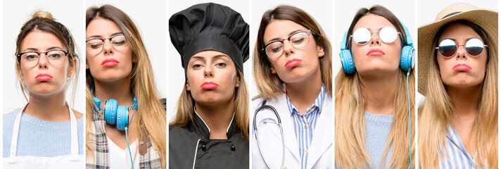 Cool woman, different professions with sleepy expression, being overworked and tired