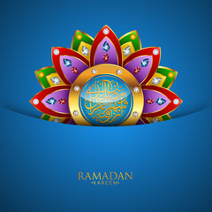 Ramadan Kareem greeting background Islamic with gold patterned and crystals on paper color background. Vector illustration