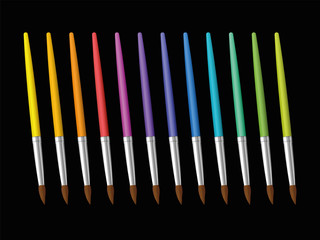 Paint brushes on black background. Collection of twelve rainbow spectrum colored paintbrushes. Vector illustration.