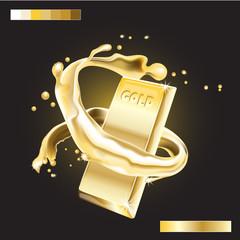 Splash around Gold Bar. Realistic 3D image