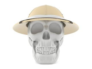 Skull with pith helmet