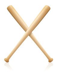 Baseball bats x crossed. Symbol for sporting competition, match, contest, battle, fight. Wooden textured, isolated vector illustration of two bats on white background.
