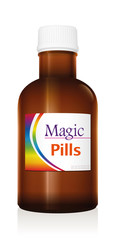 Medical vial bottle named MAGIC PILLS. Panacea product to promise miracle cure, assured health or other wonders concerning healing issues. Vector on white background.