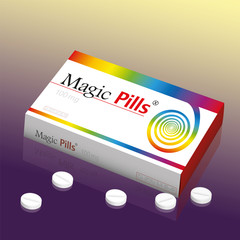 Medicine packet named MAGIC PILLS, a medical panacea product to promise miracle cure, assured health or other wonders concerning healing issues.