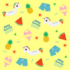 Unicorn inflatable ring in Summer object theme , Summer pattern, Vector illustration