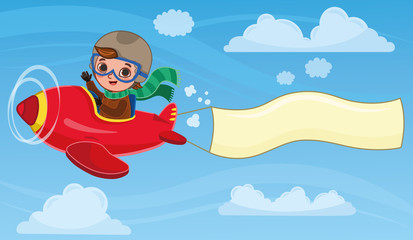 Cute boy pilot flies on a red plane with a banner. Cartoon vector illustration