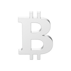 3D illustration isolated silver bitcoin