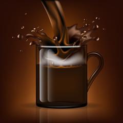 Splash coffee in a glass mug