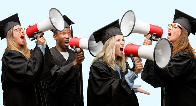 Education concept, university graduate woman and man group communicates shouting loud holding a megaphone, expressing success and positive concept, idea for marketing or sales
