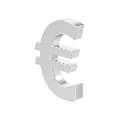 3D illustration isolated silver uero money