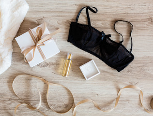 Woman's accessories on a wooden background