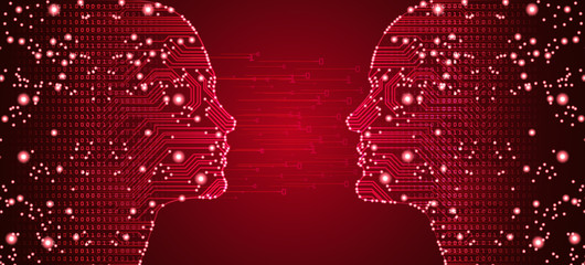 Big data, artificial intelligence, machine learning in online dating in form of women and men face outline outline with circuit board and binary data flow on red background.