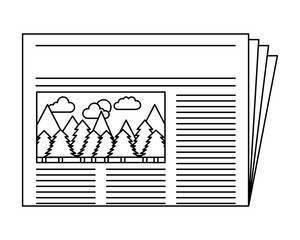 newspaper with picture forest notice vector illustration