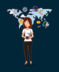 cartoon woman with social media related icons over world map and blue background, colorful design. vector illustration