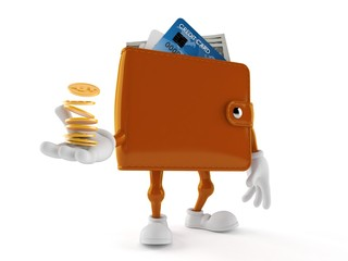 Wallet character with stack of coins