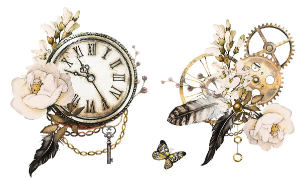 steam punk watercolor Illustration with feathers, clockwork,  jewelry, Flowers. Illustration isolated on white background. Vintage print.