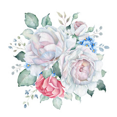 Watercolor Floral Bouquet with White and Pink Roses and Forget-me-not Flowers
