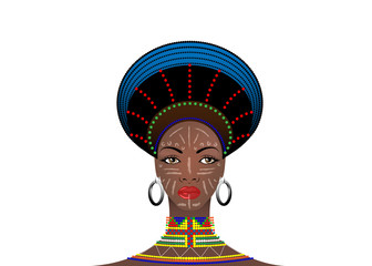African Tribe Headdress Female Zulu, portrait of cute south african woman. Typical clothing for married women, young girl of Bantu nation. Afro tribal painted face with ethnic jewelry. Vector isolated