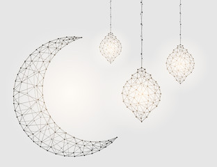 A Crescent moon, lamps in glitter lines and triangles connecting the starry sky network. Vector illustration EPS 10.