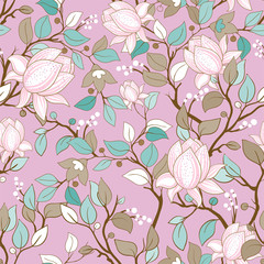 Foto op Aluminium Botanisch Delicate seamless pattern with large decorative magnolias. Vector floral wallpaper