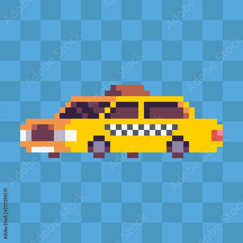 Pixel Art Yellow Taxi City Car Icon Stock Image And