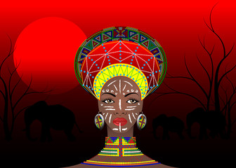 African Tribe Clothes Female Zulu, portrait of cute south african woman of Bantu nation. Typical Afro Headdress with ethnic earrings and necklace. Vector isolated or African red sunset batik style