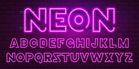80 s purple neon retro font. Futuristic chrome letters. Bright Alphabet on dark background. Light Symbols Sign for night show in club. concept of galaxy space. Set of types. Outlined version.