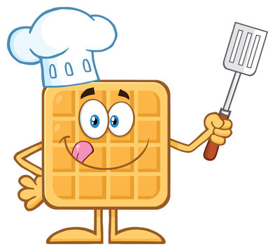 Chef Square Waffle Cartoon Mascot Character Holding A Slotted Spatula. Illustration Isolated On White Background
