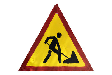 Handmade road sign 'Road works' isolated on white