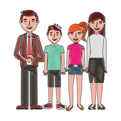 happy family parents son and daughter vector illustration