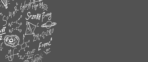 Science symbols, formulas on grey background copy space 3D illustration