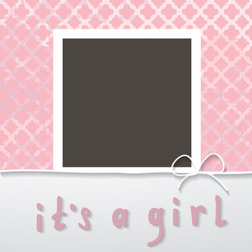 baby shower for a girl with a photo frame
