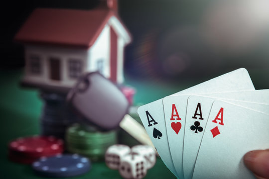 Four aces cards in poker player hand