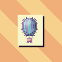 hot air balloon icon over orange background, colorful design. vector illustration