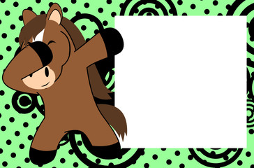 dab dabbing pose horse kid cartoon picture frame background in vector format very easy to edit