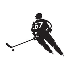 Ice hockey player skating with puck. Isolated vector silhouette