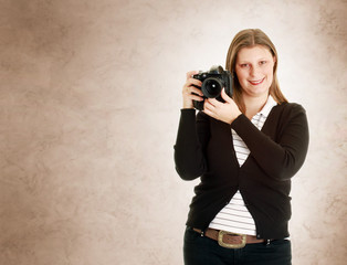 a smiling Female Photographer