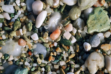 scattering of colored sea stones