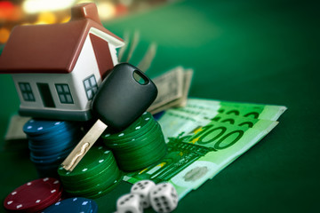 Car keys and house for poker game