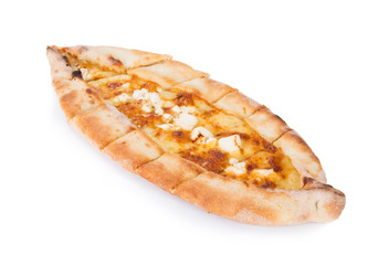 Traditional turkish pizza pide with cheese on white. Top view.