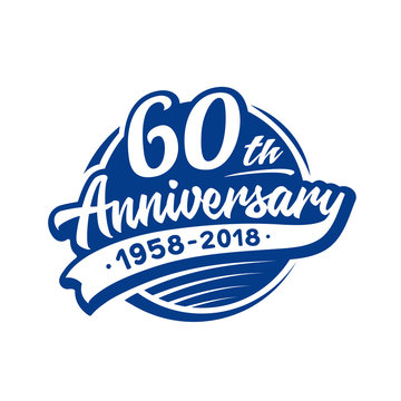 60 years anniversary design template. Vector and illustration. 60th logo.