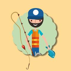 fisherman holding rod and little fish cartoon vector illustration