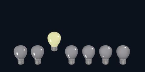 Konzept: Aus der Masse abheben, mit Glühbirnen. 3d render