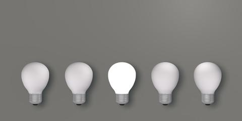fünf Glühbirnen mit einer leuchtenden. 3d render