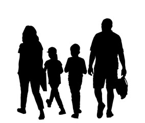 Family walking together - vector illustration on white and copy space