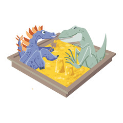Tyrannosaurus and stegosaurus play together in the sand